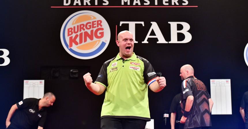 Mvg nach seinem Checkdart gegen Barney - Auckland Darts Masters 2018