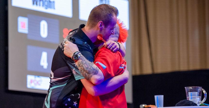 Max Hopp nach seinem Sieg über Peter Wright - German Darts Open 2018 in Saarbrücken