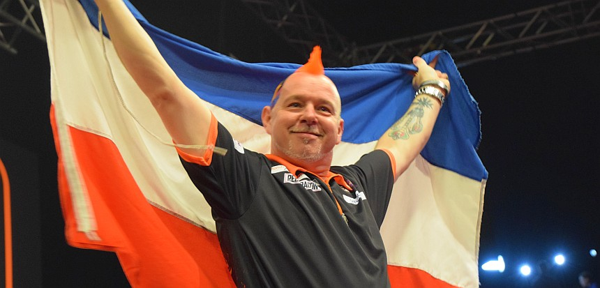 Am Ende hatte Peter Wright doch noch gut lachen - Premier League Darts Rotterdam Spieltag 12