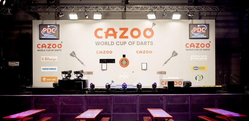 Die Bühne des World Cup of Darts in Jena