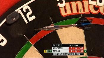 Phil Taylor verpasst einen 9-Darter auf Doppel 12 - PDC Dart WM 2015