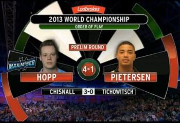 Max Hopp gewinnt die Vorrunde der PDC Dart WM 2013