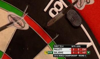 Mensur Suljovic vergab einen 9-Darter auf Doppel 18 - PDC Dart WM 2016 - 2. Runde