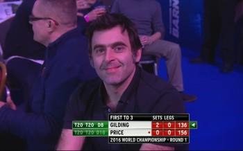 Auch Snooker Legende Ronnie O'Sullivan ließ sich diesen Abend beim Dart nicht entgehen