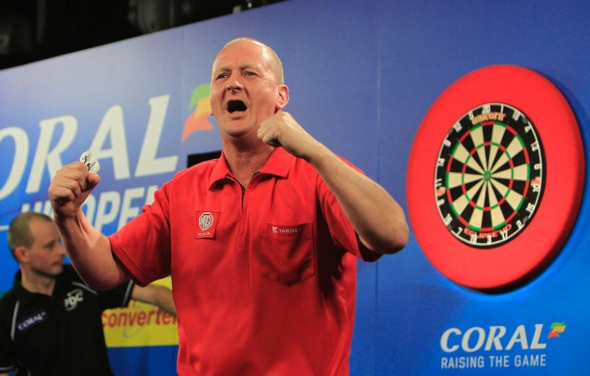 Eddie Dootson feiert einen Sieg bei den UK Open