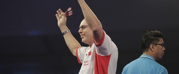 Kevin Simm bei seinem WM-Spiel gegen Gilbert Ulang